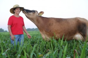1u4b0381 cow kissing darlene